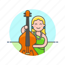 audio, bassist, double, instrument, music, play, sound, woman icon