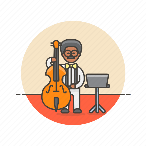 audio, bassist, double, instrument, man, music, play, sound icon