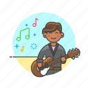 audio, guitarist, instrument, man, music, play, sound icon