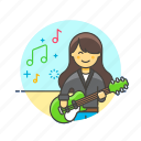 audio, guitarist, instrument, music, play, sound, woman icon