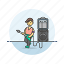 audio, guitarist, instrument, man, music, play, sound, speaker icon