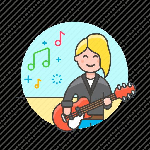 audio, guitarist, instrument, music, play, sound, woman icon