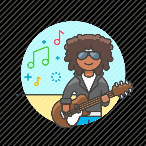 audio, guitarist, instrument, man, music, play, sound icon