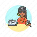 audio, hip, hop, instrument, music, play, sound, woman icon