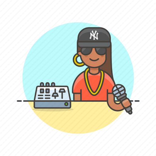 audio, hip, hop, instrument, music, play, sound, woman icon