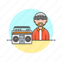 audio, hip, hop, instrument, man, music, play, sound icon