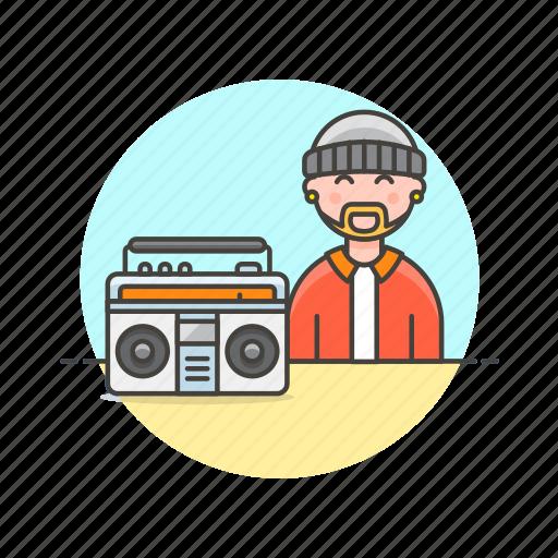 audio, hip, hop, instrument, man, music, play, sound icon