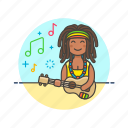 audio, instrument, music, play, reggae, sound, ukulele, woman icon