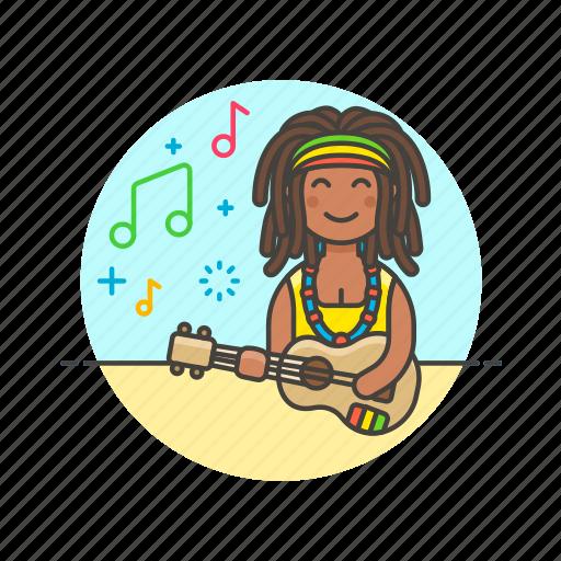 audio, instrument, music, play, reggae, sound, ukulele, woman icon