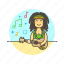 audio, instrument, music, play, reggae, sound, ukulele icon