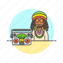 audio, instrument, man, music, play, radio, reggae, sound icon