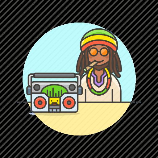 audio, instrument, man, music, play, radio, reggae, sound icon