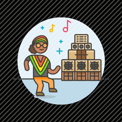 audio, dance, instrument, music, play, reggae, sound icon