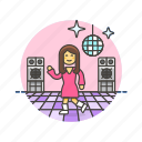 audio, dance, instrument, music, play, retro, sound, woman icon