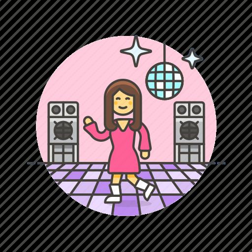 audio, dance, instrument, music, play, retro, sound, woman icon