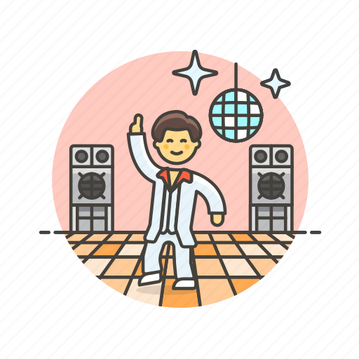 audio, dance, instrument, man, music, play, retro, sound icon