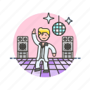audio, dance, instrument, man, music, play, retro, sound icon