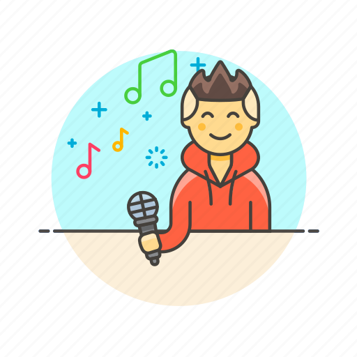 audio, instrument, man, microphone, music, play, sing, sound icon