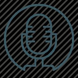 broadcasting, mic, microphone, radio, speak icon