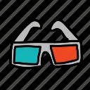 glasses, movie, multimedia, quality, three dimension, watch icon