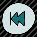 back, movie, multimedia, music, replay icon