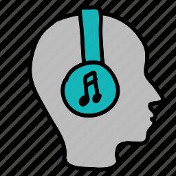 head, headset, listen, multimedia, music icon