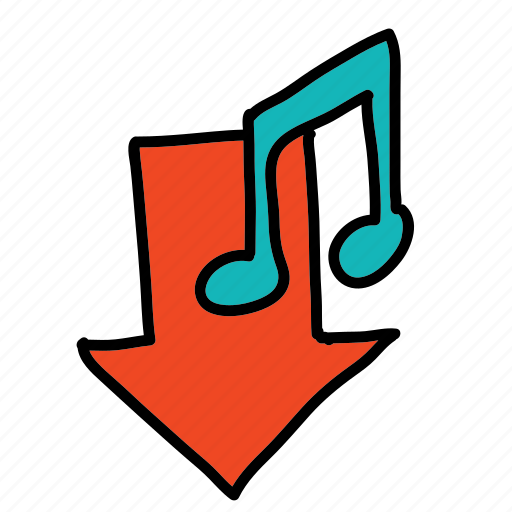 arrow, down, multimedia, music, sign icon