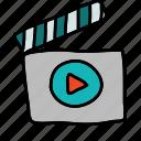 director, movie, multimedia, play icon