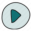 continue, movie, multimedia, music, play, proceed icon