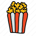 movies, multimedia, popcorn, snack icon