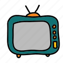 interior, movies, multimedia, television, vintage, watch icon