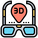 3d, cinema, film, glasses, movie icon