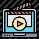 cinema, clapperboard, movie, recording, video icon