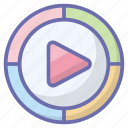 media button, media play, media player, play button, video player icon
