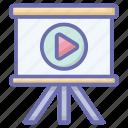 movie play, multimedia, presentation board, video lecture, video presentation, video tutorials icon