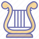 ancient lyre, ancient music, apollo lyre, greek lyre, musical instrument icon