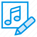 album, audio, edit, music, pencil, recording, wave icon