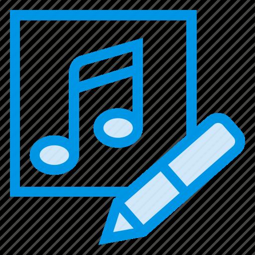 album, audio, edit, music, pencil, recording, wave icon