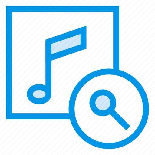 audio, file, magnifier, music, search, searching, sound icon