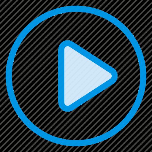 android, arrow, audio, film, multimedia, play, video icon