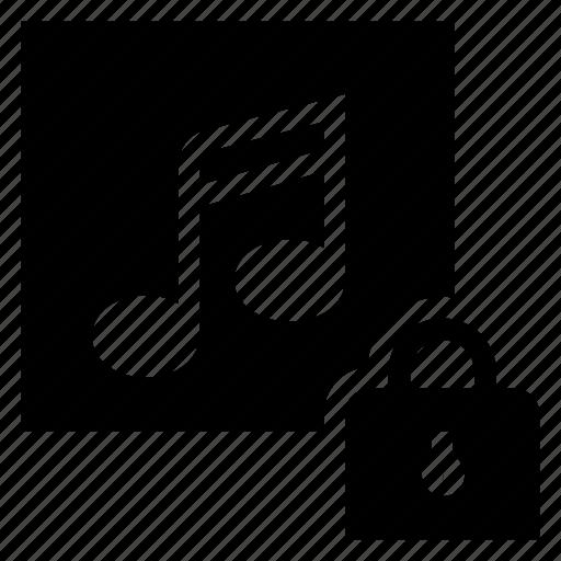 audio, file, lock, media, multimedia, music, musiclock icon