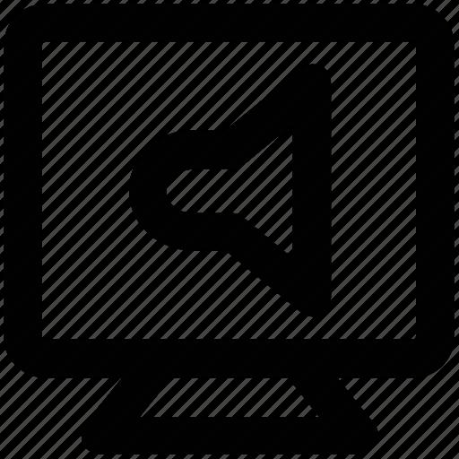 announcement, communication, media, multimedia, tv screen, unmute, volume control icon