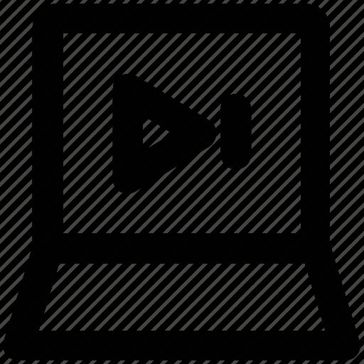 audio, internet, laptop, media, multimedia, play sign, video icon
