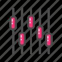 equalizer, fileed, music, outline, volume