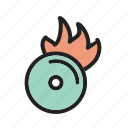 burn, cd, fire, image, music, sign, technology icon