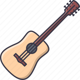 acoustic, band, guitar, instrument, music, song icon
