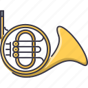 band, french, horn, instrument, music, song icon