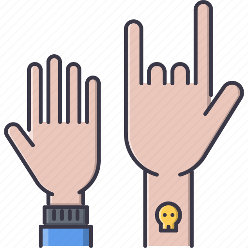 band, concert, hand, instrument, music, rock, song icon