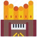 electric, instruments, keyboard, music, organ, pipe icon