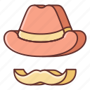 country, hat, music, mustache icon